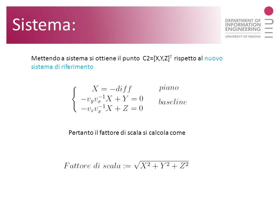 Sistema: Mettendo a sistema si ottiene il punto C2=[X,Y,Z]T rispetto al nuovo sistema di riferimento.